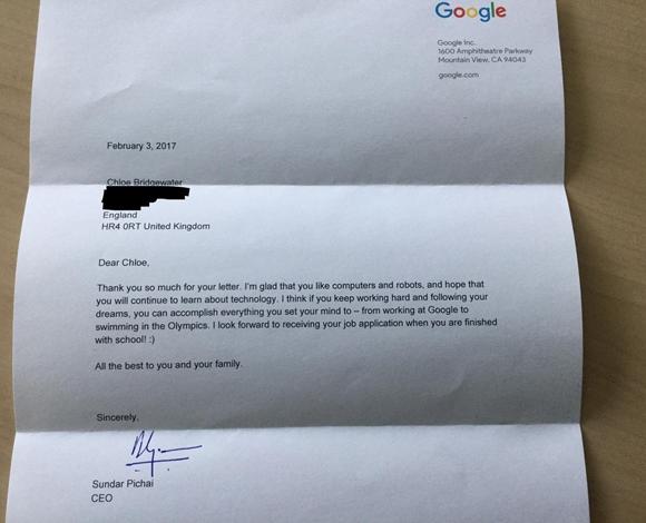 هكذا رد رئيس غوغل على طلب فتاة عمرها 7 سنوات العمل في الشركة