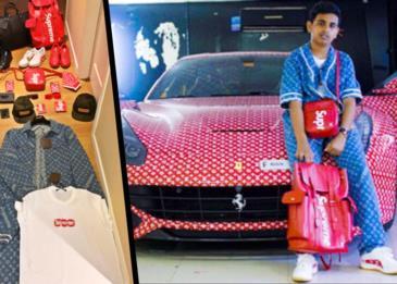 طفل دبي الثري يظهر عشقه لعلامتي Louis Vuitton x Supreme