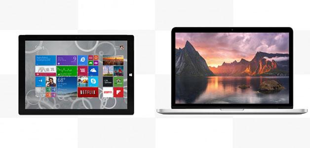 مقارنة بين جهازي مايكروسوفت سيرفيس برو 3 وأبل ماك بوك برو